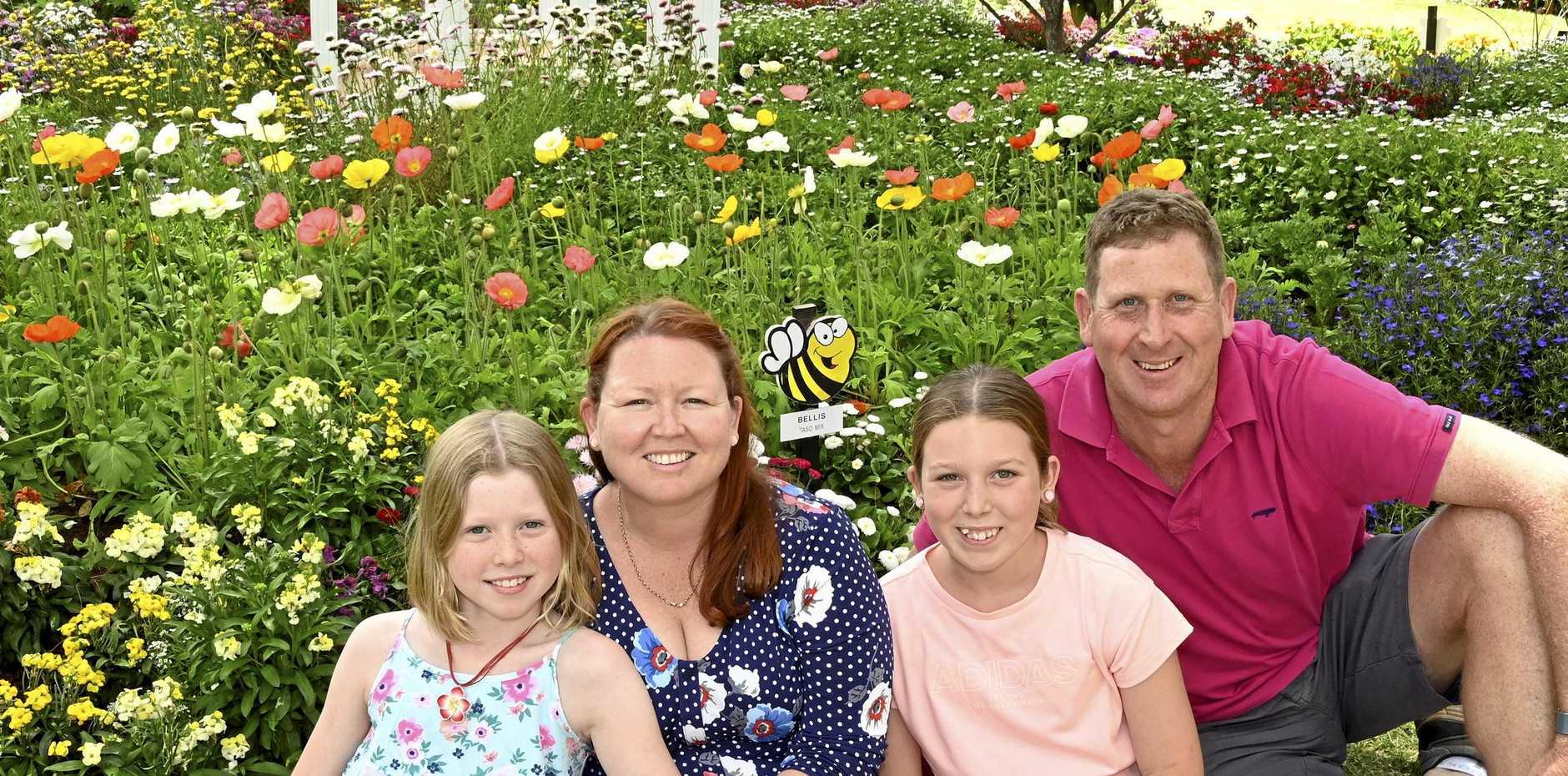 Enjoying the spectacular floral displays at Laurel Bank today are (from left) Charlotte, Ellen, Elizabeth and Glen Seeds.
