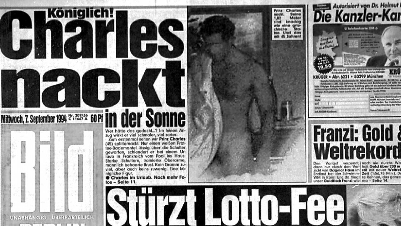 While grainy, the images plastered across the front page of German newspaper'Bild' showed more than enough of the future king of England.