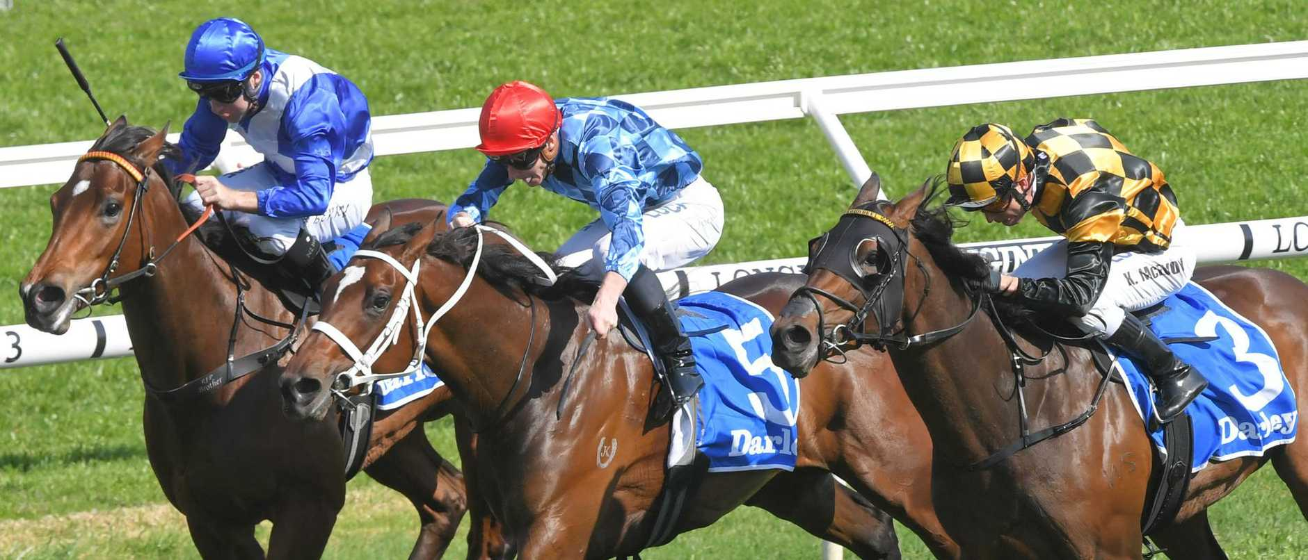 Funstar, centre, prevails on Saturday in the Tea Rose Stakes at Royal Randwick.