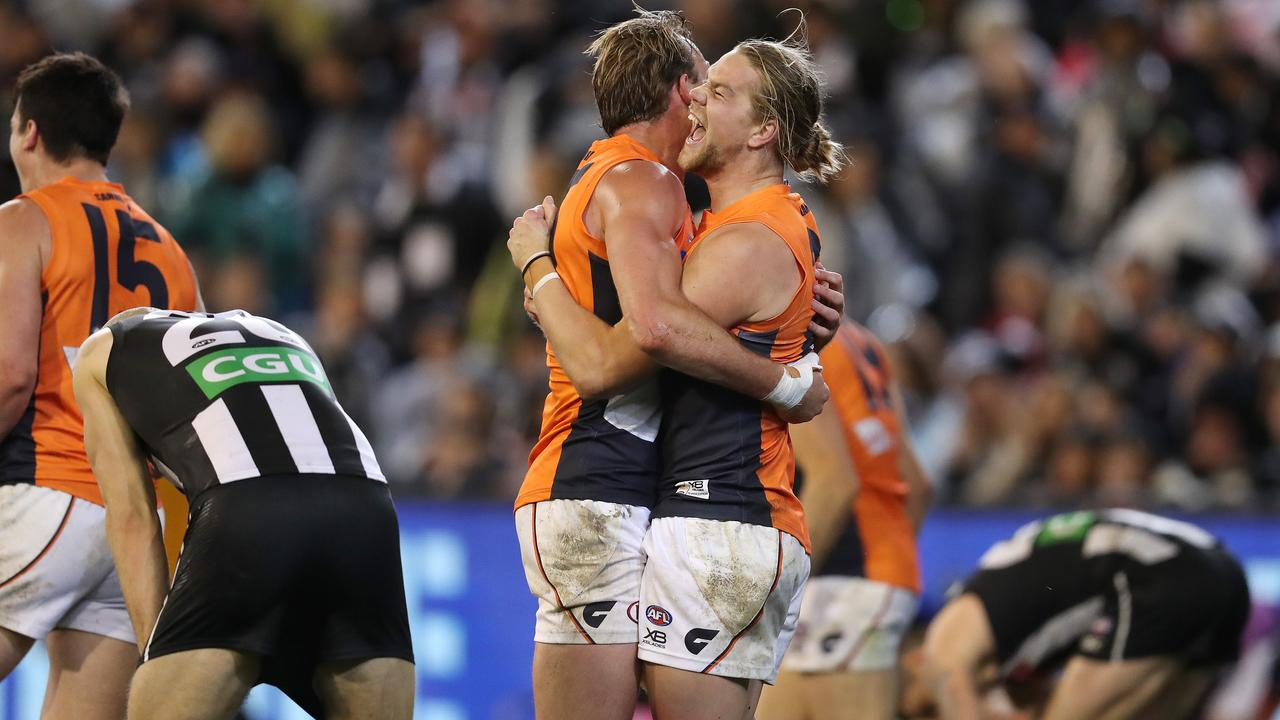 GWS Giants celebrate their win against Collingwood in the 2019 preliminary final. Picture: Michael Klein