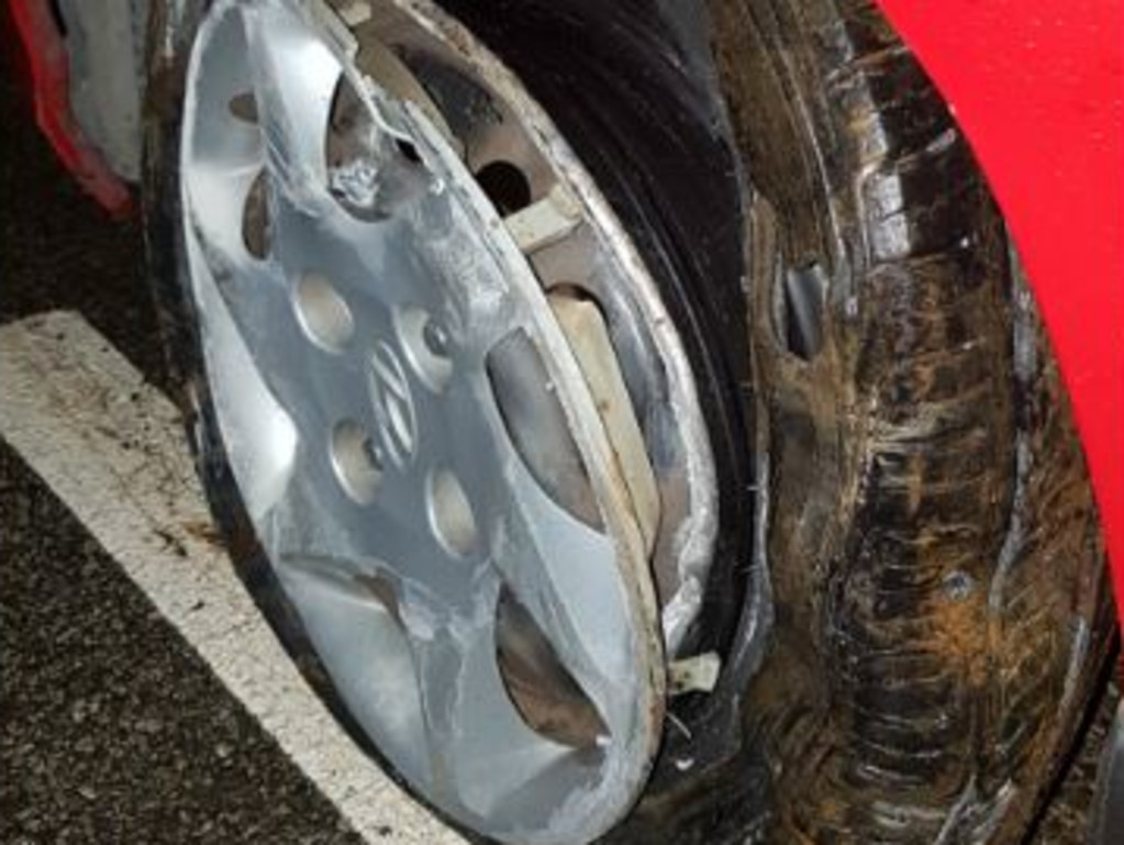 One of the chewed tyres. Picture: SAPOL.