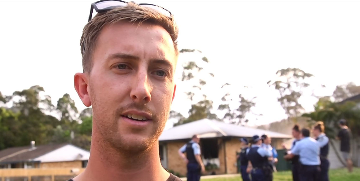 SWINGING INTO ACTION: Jacob Vidler fought a neighbour's house fire with a garden hose.