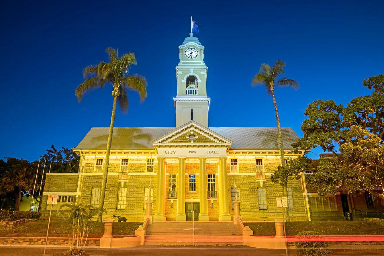 FLOOD LIT: Fraser Coast landmarks, including Maryborough City Hall, will take on a new glow as part of campaign to raise awareness about cancer.