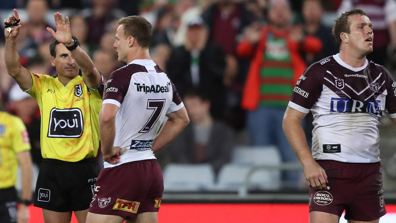 Jake Trbojevic's sin-binning was costly for Manly. Picture: Brett Costello