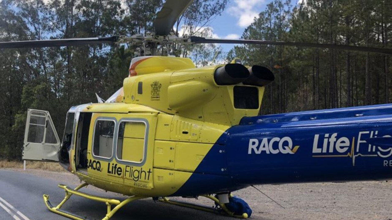 The RACQ LifeFlight helicopter on the scene.