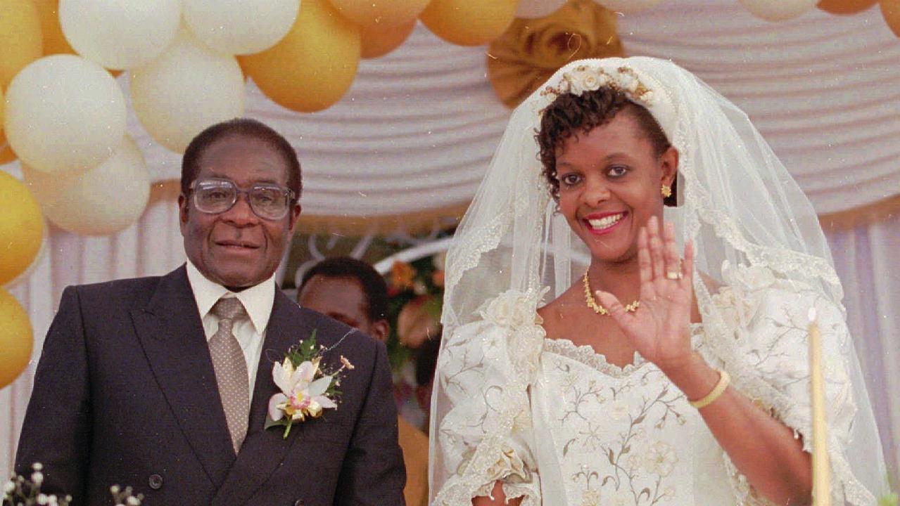 Robert Mugabe and Grace Marufu at their 1996 wedding. Picture: AP Photo/Joao Silva