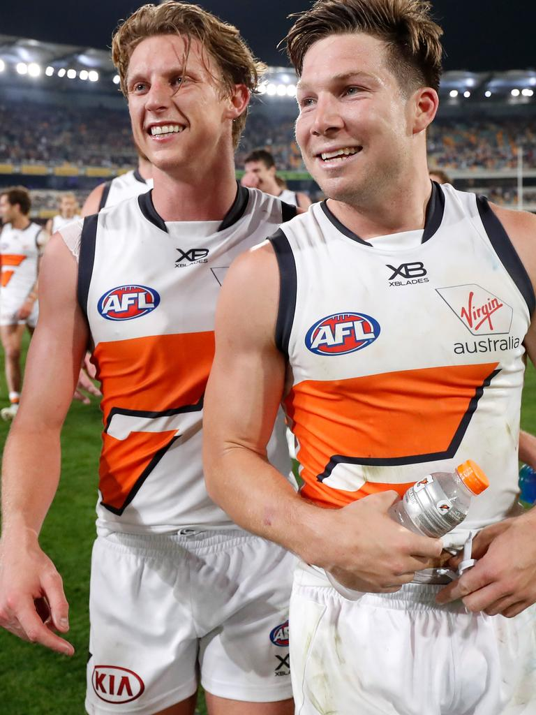 GWS are likely to regain Toby Greene and Lachie Whitfield for the grand final. Picture: Michael Willson/AFL Photos via Getty Images.