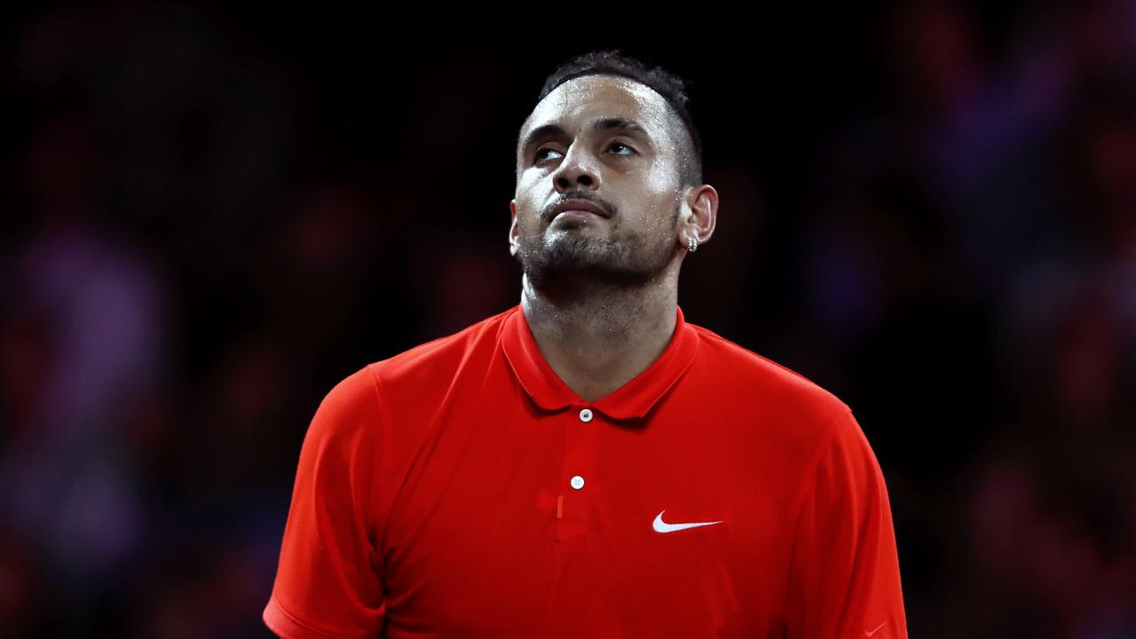 "Nick Kyrgios was distracted by a ""hot chick"" in the crowd at the Laver Cup."