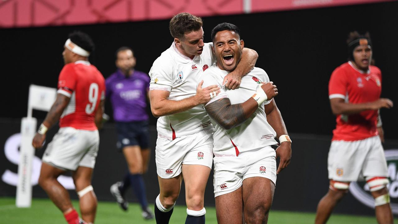 England's centre Manu Tuilagi scored a brace of tries during their first-up win over Tonga.
