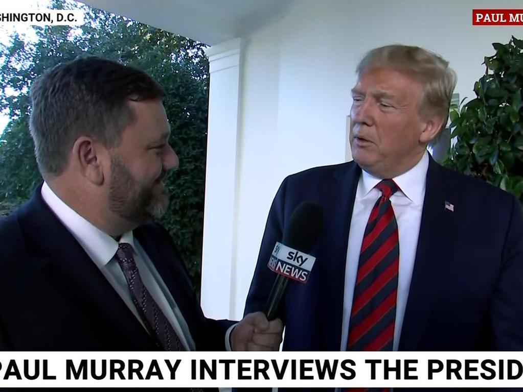 Paul Murray interviews US President Donald Trump in Washington. Picture: Sky News