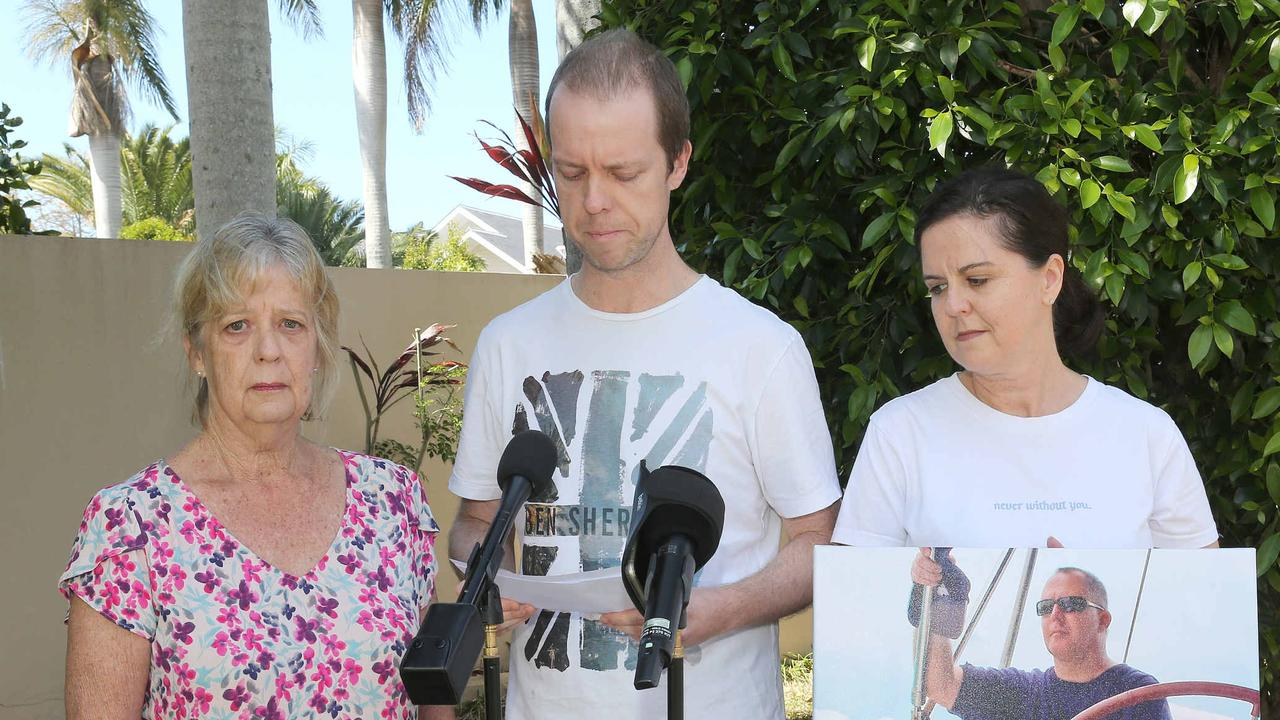 Family of father and son who died in crash speak to the media for the first time. Suzanne Jones, Craig Cameron and Leonie Shaw holding photo of the Late Jeffrey Hills. Photo: Mike Batterham