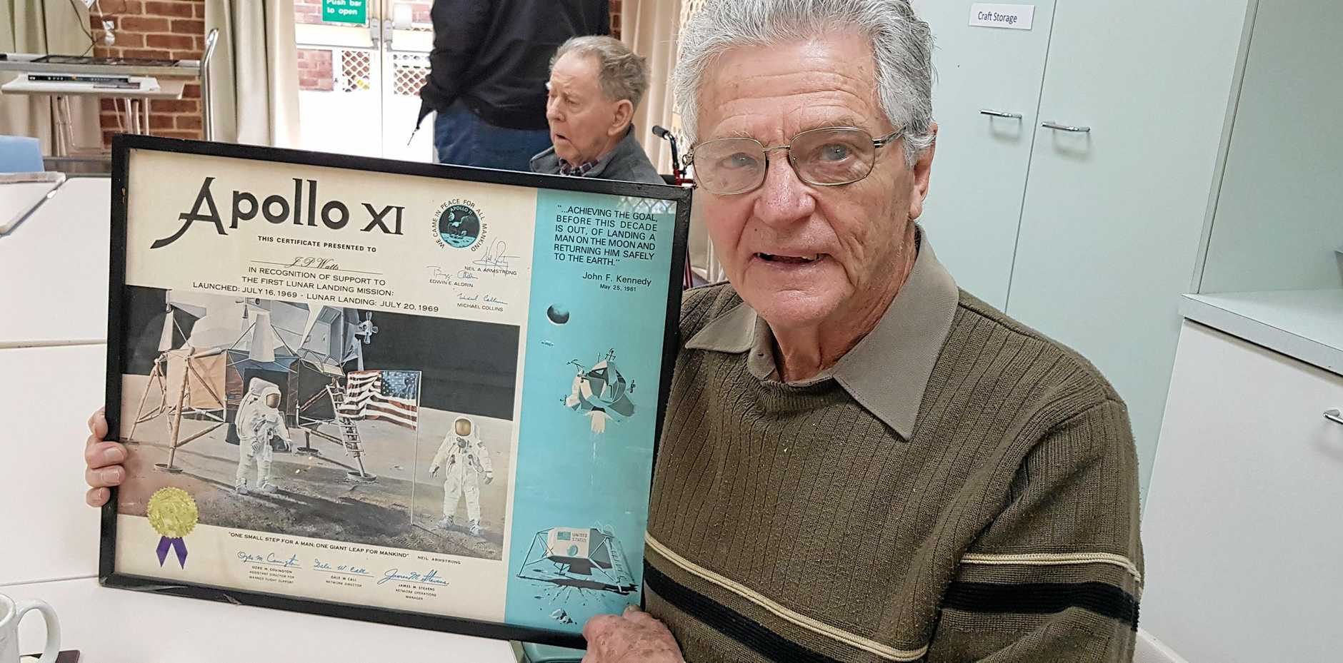 MISSION ACCOMPLISHED: John Watts with his Apollo XI certificate