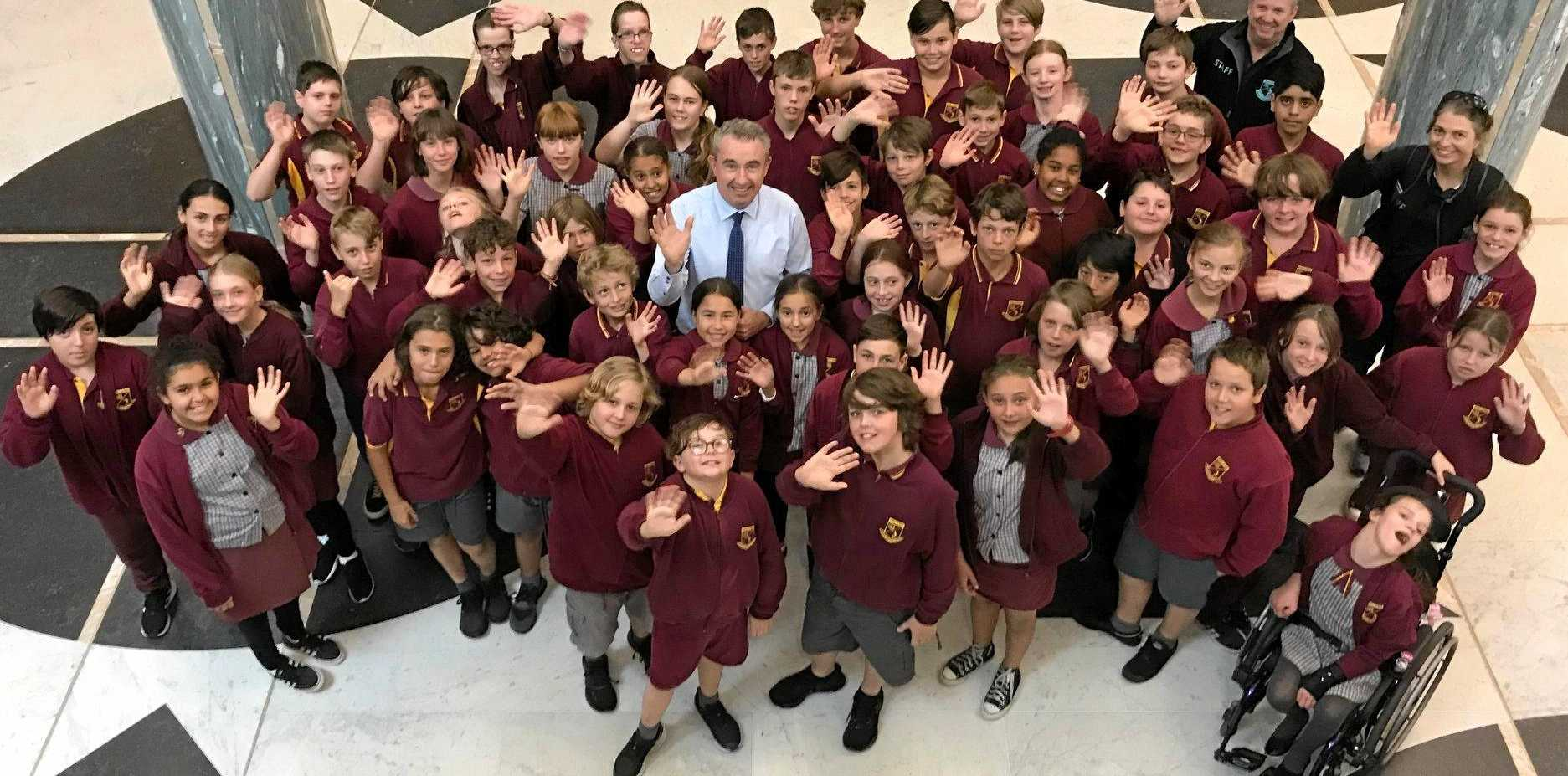 VISIT: Students from Wyrallah Road Public School visit Parliament House.
