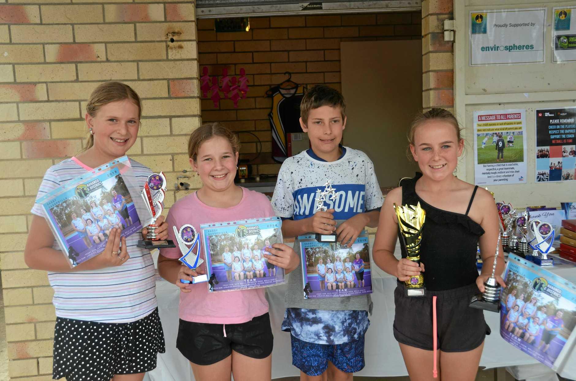 Nanango Netball team Sassy Sassprilla awards: Lynleigh Beutel, Kate Baker, Wade Douglas, and Rhiannon Snow.
