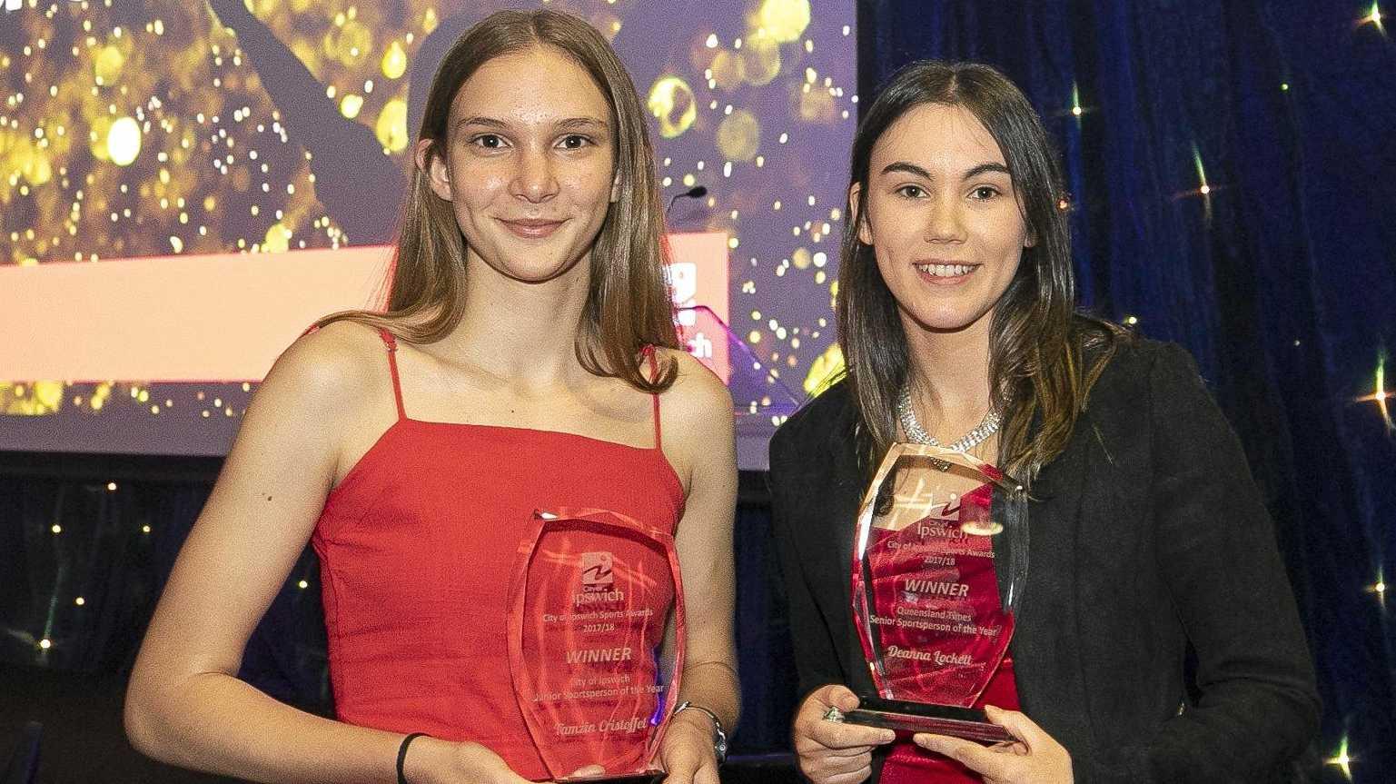 RECOGNISED: 2018 City of Ipswich Sports Awards recipients Taekwondo specialist Tamzin Christoffel and short track speed skater Deanna Lockett (Short Track Speed Skating).