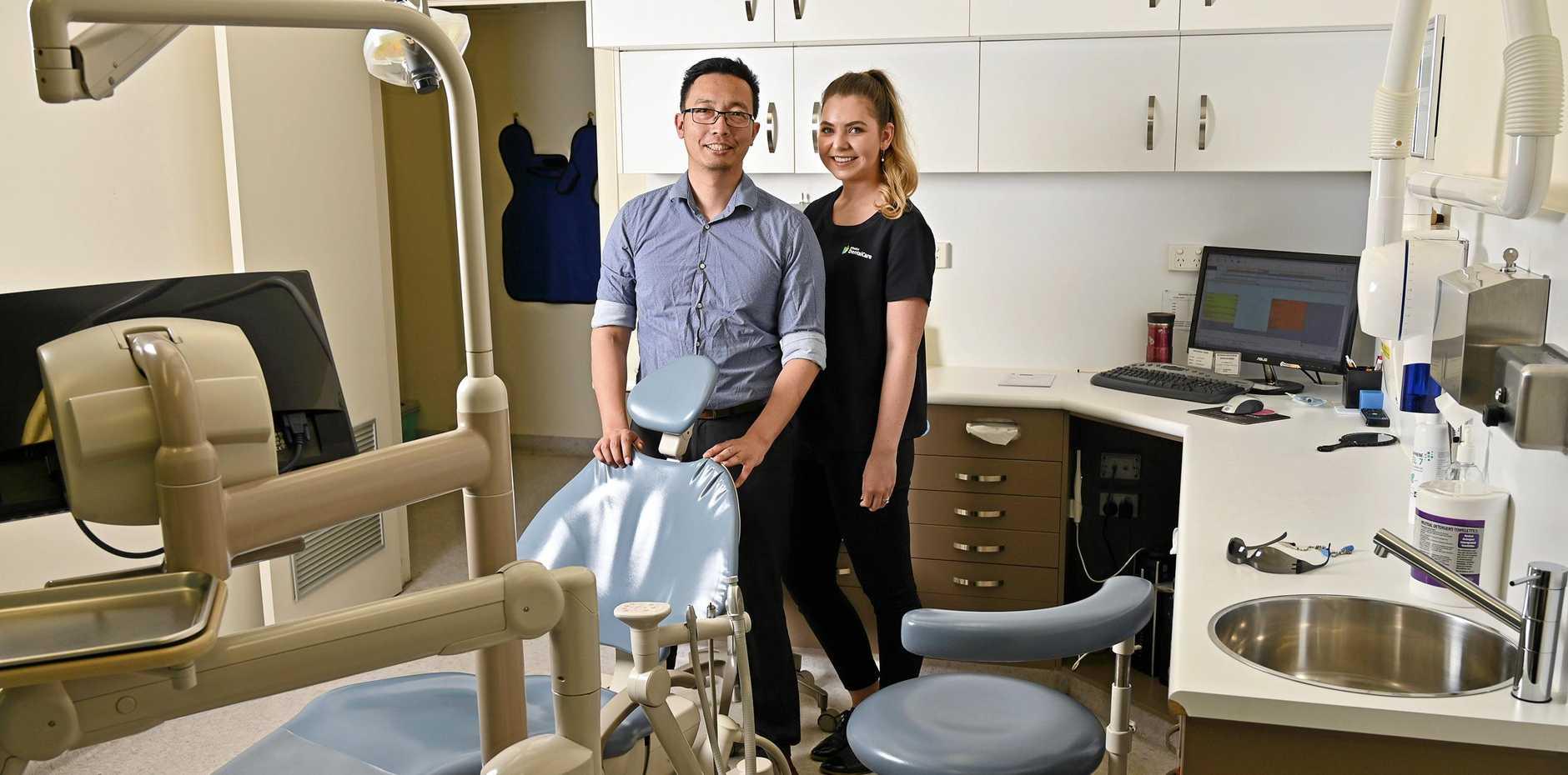 Dr David Chen and Logan Reed of Ipswich Dental Care.