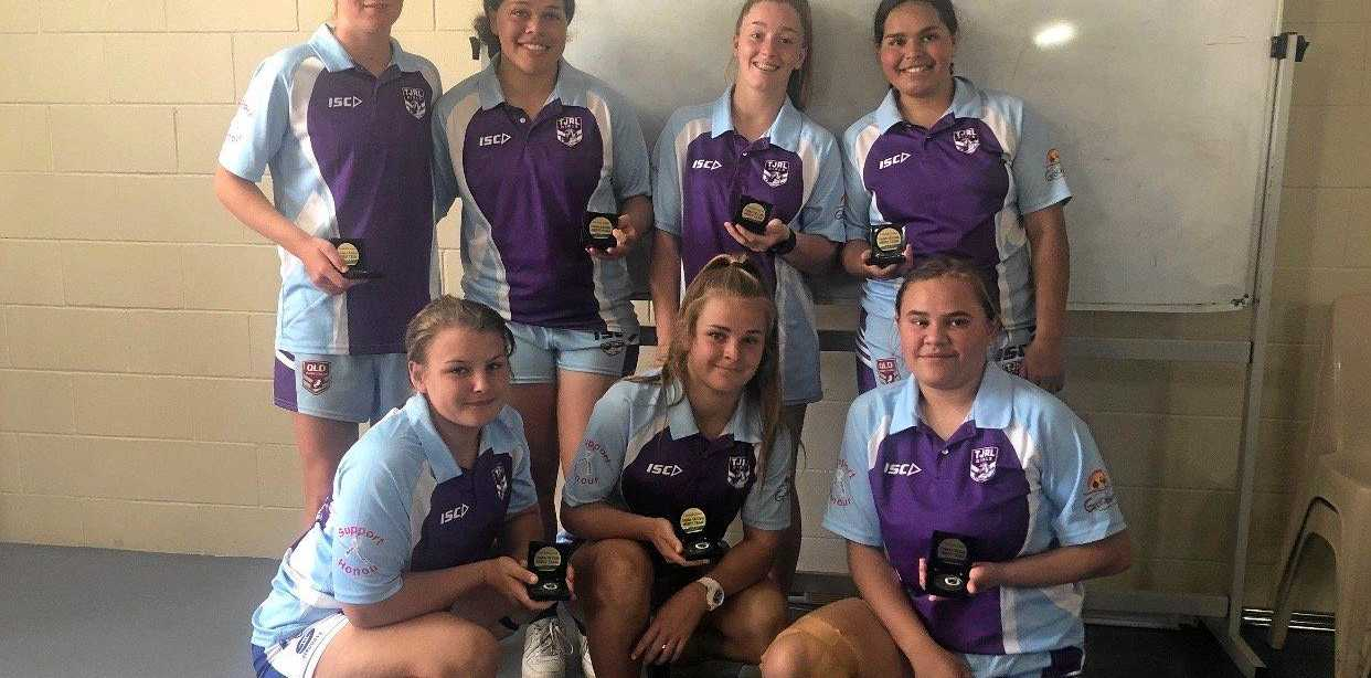 SHOWING MERIT: Toowoomba girls chosen in the Central Crows U18s merit side (back, from left) Reeghyn Beardmore, Abelee Stanley, Tenesha Trunks, Taylah Stanley. (Front, from left) Katelyn Anderson, Courtney-Lee Nolan, Amanda Hinch.
