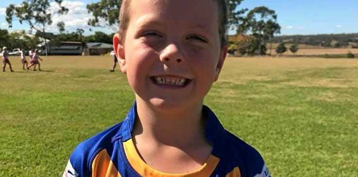 All smiles at the sports grounds as Dylann Burton prepares for his game of rugby league.