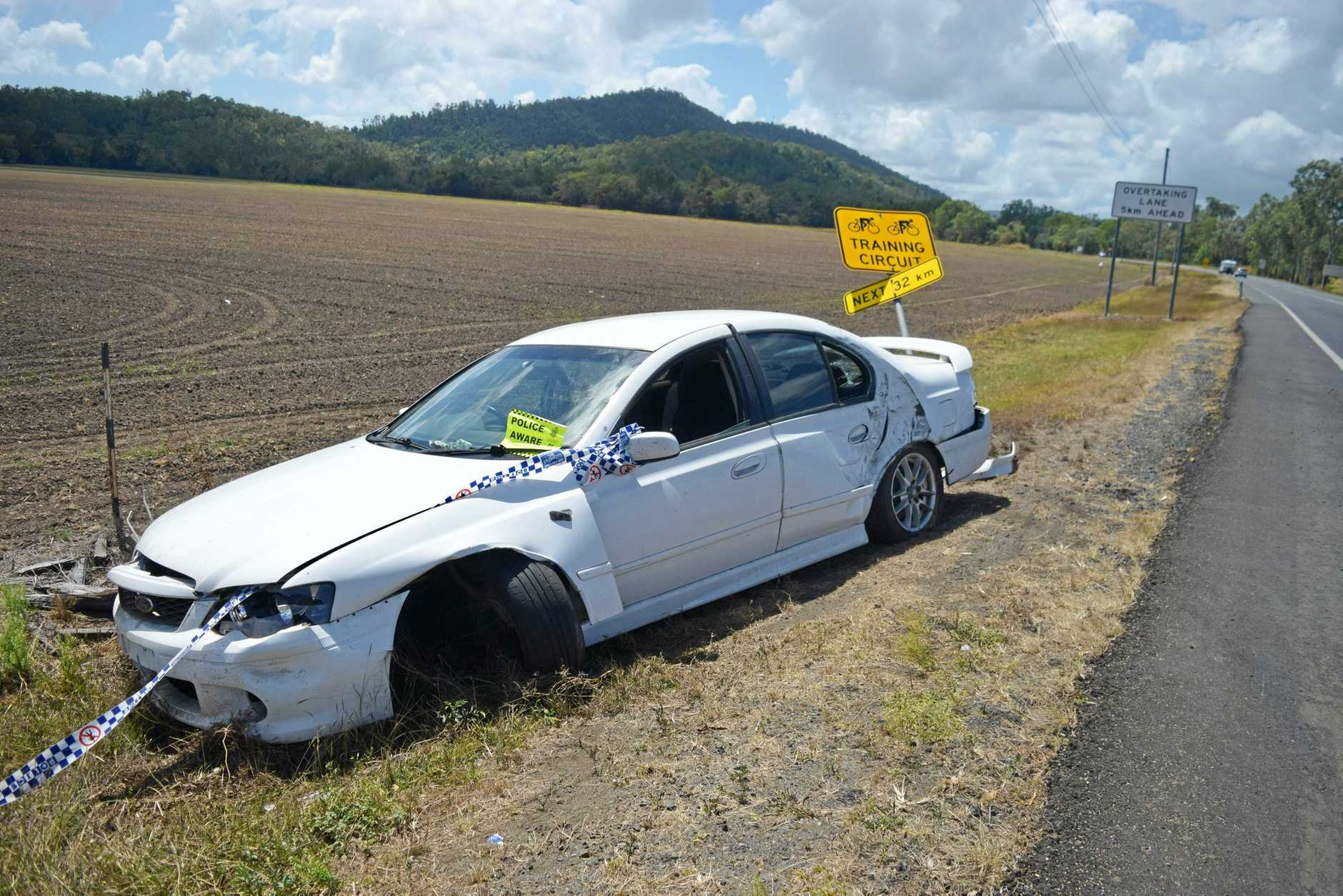 A car was left undriveable after it crashed into a sign and off Shute Harbour Rd at Hamilton Plains on Thursday night.