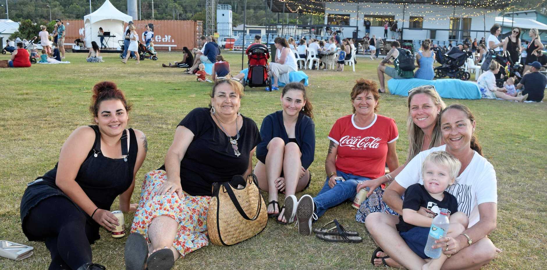 Tahlia Neil, Jules Young, Daisy Neil, Alana Fors, Tara Lucas, Kelly Curra and Jett Curra, 4, at Whitsunday Eats n Treats on Saturday.