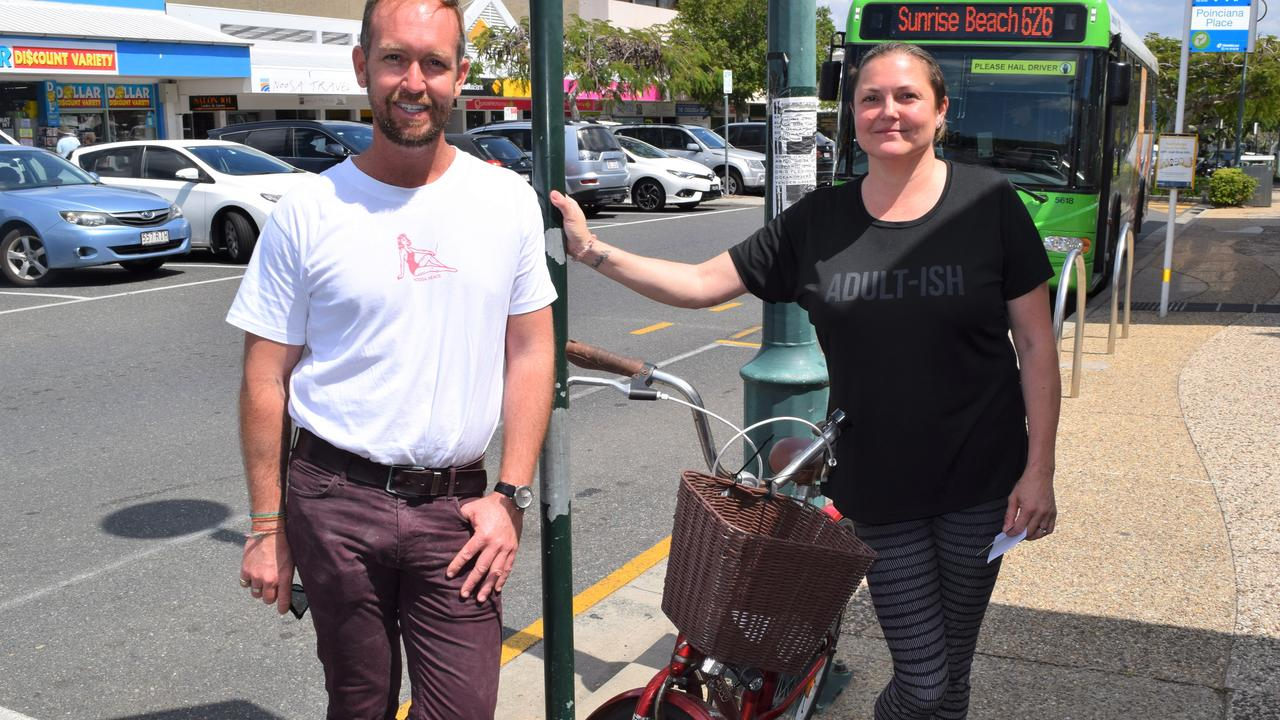 Noosa Councillor Jess Glasgow with Zabe owner Samantha Mitchell where the bike parking trial is about to happen.