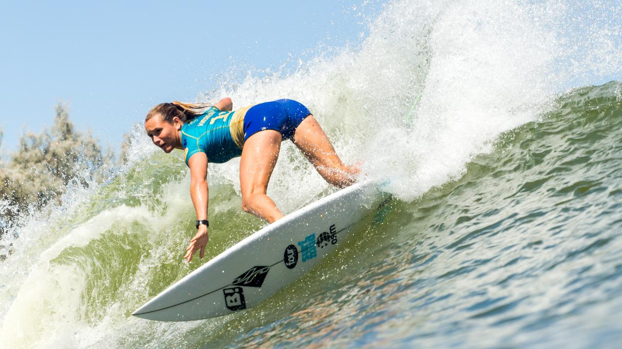 LEMOORE, CA, UNITED STATES - SEPTEMBER 20: Keely Andrew of Australia surfing in Heat 2 of Round 1 at the 2019 Freshwater Pro on September 20, 2019 in Lemoore, CA, United States. (Photo by Jackson Van Kirk/WSL via Getty Images)