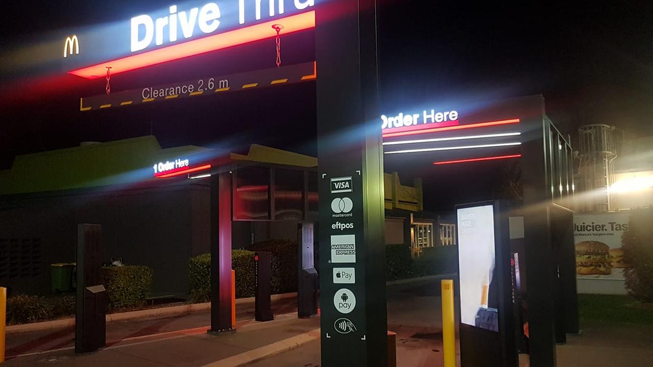 McDonald's drive-thru sign raises questions about controversial road rule. Picture: David Ramsay/Perth Have a Whinge