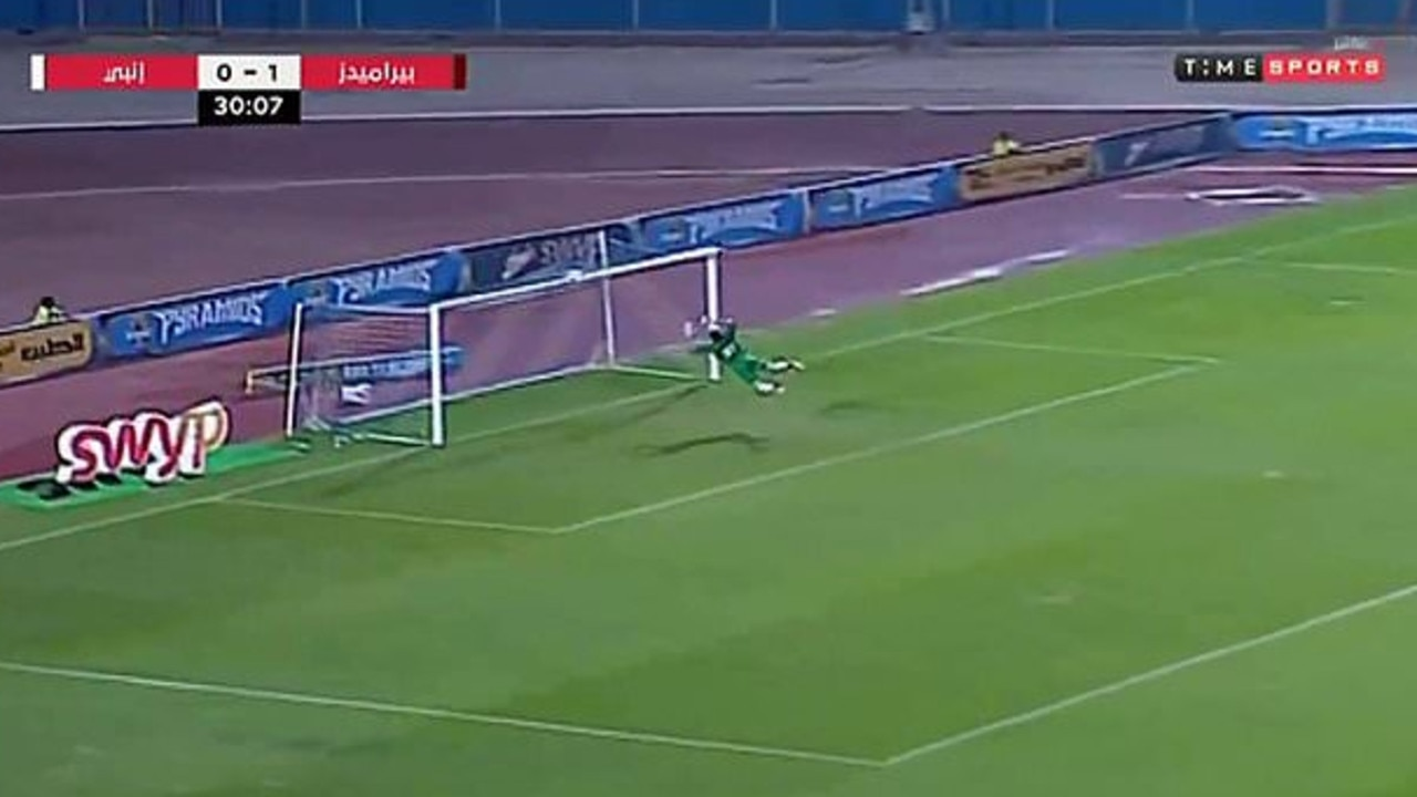 Mahmoud Gad makes a spectacular recovery in an Egyptian football game.