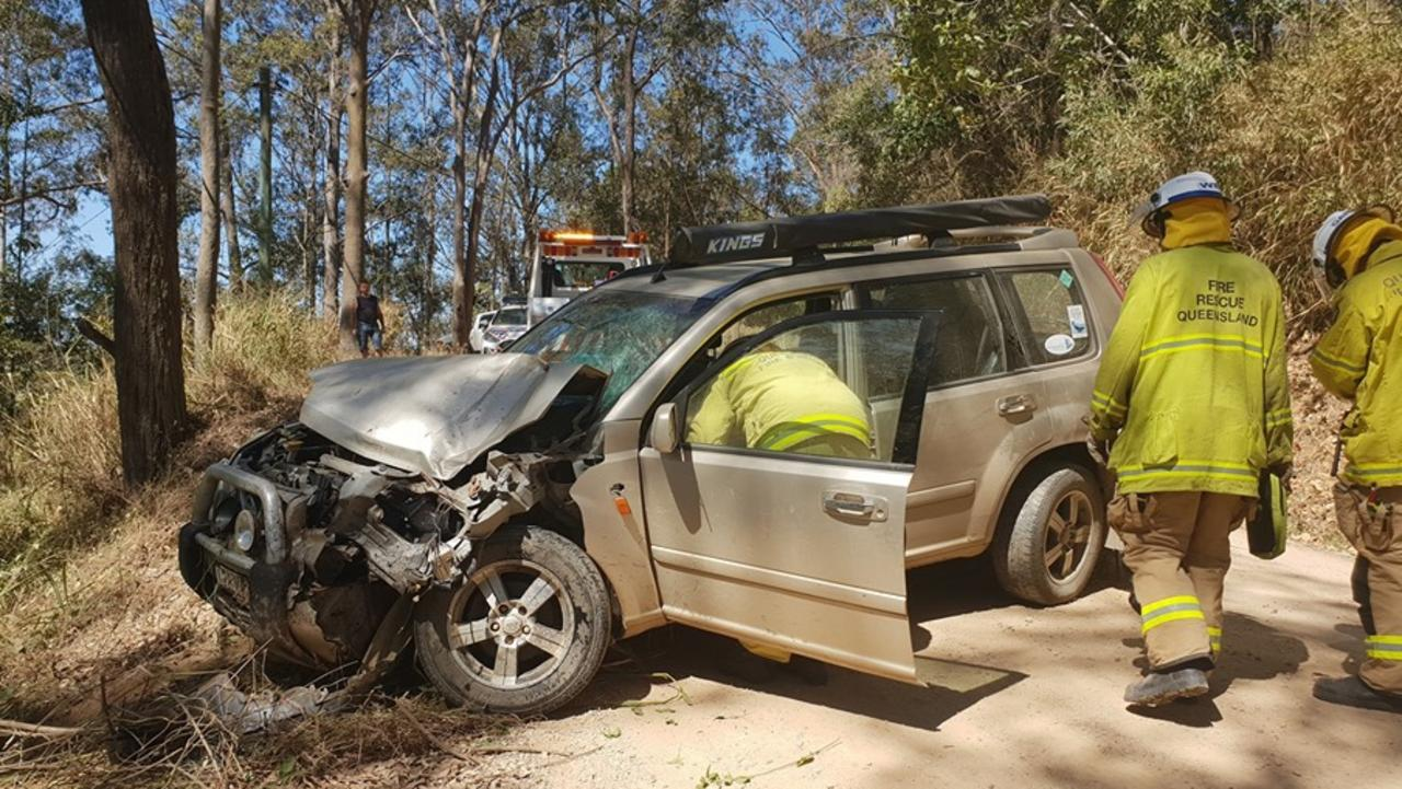 A Sunshine Coast bat carer is lucky to be alive after her car crashed during a rescue operation at Peregian. Photo: Contributed