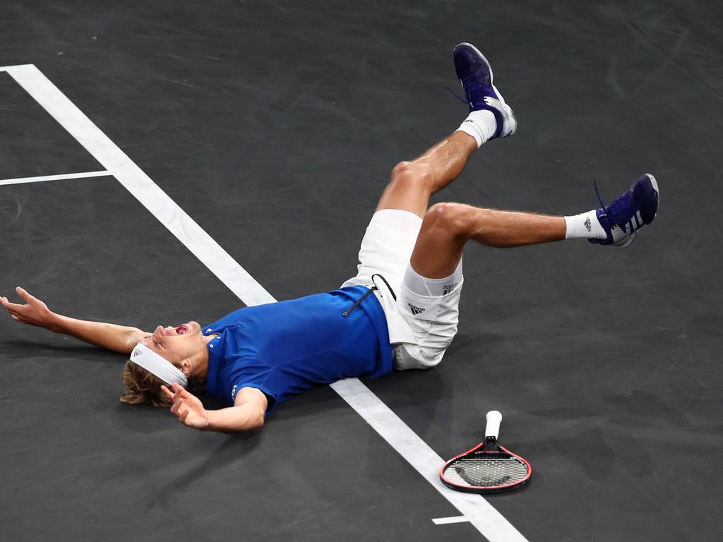 Alexander Zverev celebrates. (Photo by Clive Brunskill/Getty Images for Laver Cup )