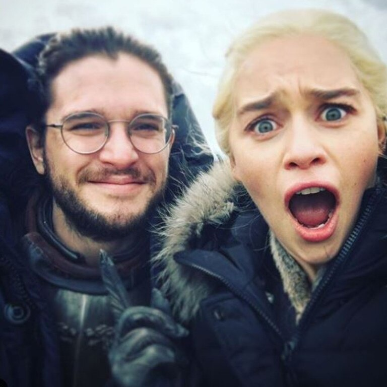 What ending? … Kit Harington and Emilia Clarke on set of Game of Thrones. Picture: @emilia_clarke