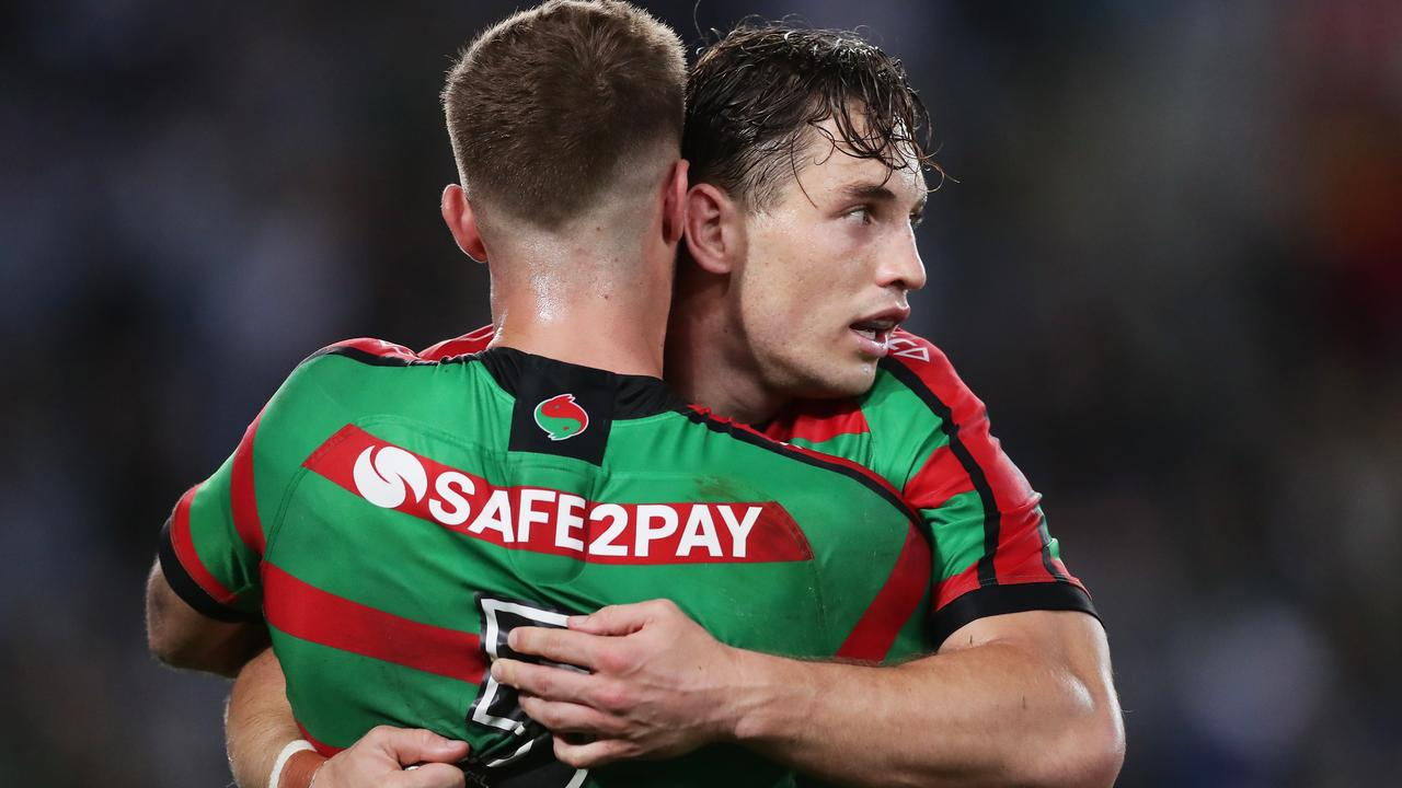 Cameron Murray and Campbell Graham celebrate a Rabbitohs try. Picture: Getty Images
