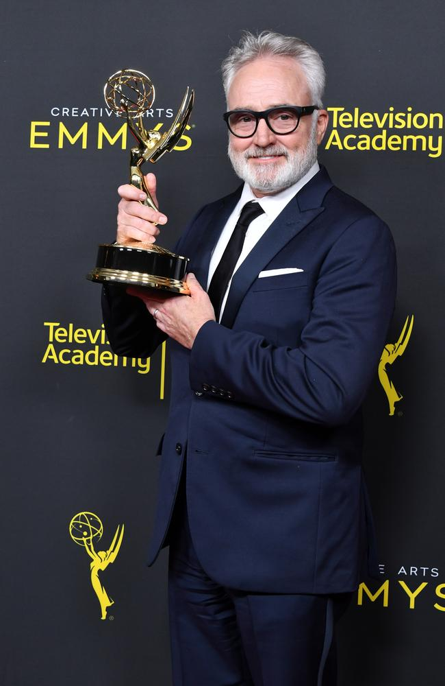 Bradley Whitford poses with the Outstanding Guest Actor in a Drama Series Award for 'The Handmaid's Tale' in the press room during the 2019 Creative Arts Emmy Awards. Picture: Getty