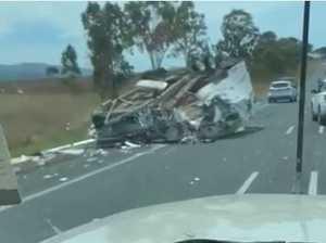 VIDEO: Caravan in pieces after car rolls on highway