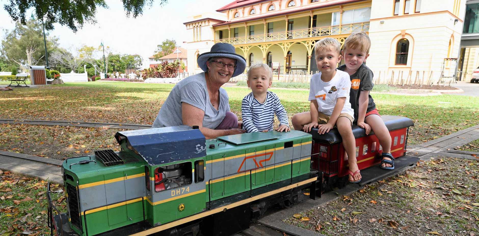 Melsa trains in Queen's Park - Melsa secretary Jill Harvey with grandchildren Charlie,14 mths, and Harry,4, Chilcott and their friend Noah Phersson,4.