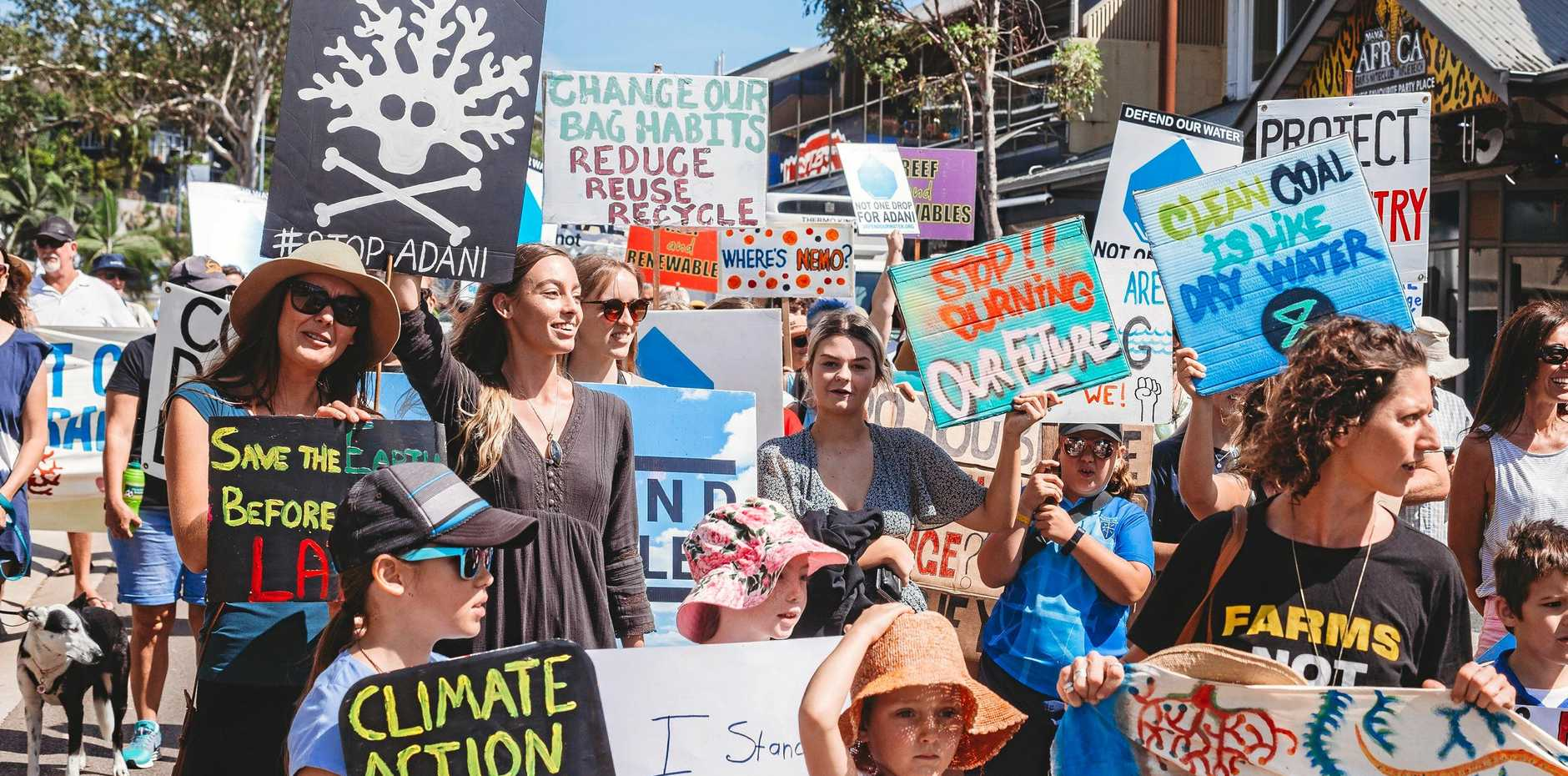 There was no shortage of colourful signs and banners at the Whitsunday Climate Strikes.