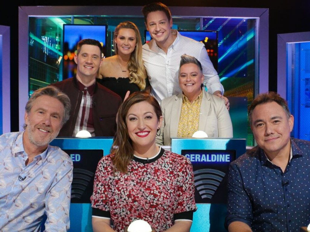Matt and Chelsie with Glenn Robbins, Ed Kavalee, Celia Pacquola, Geraldine Hickey and Sam Pang.