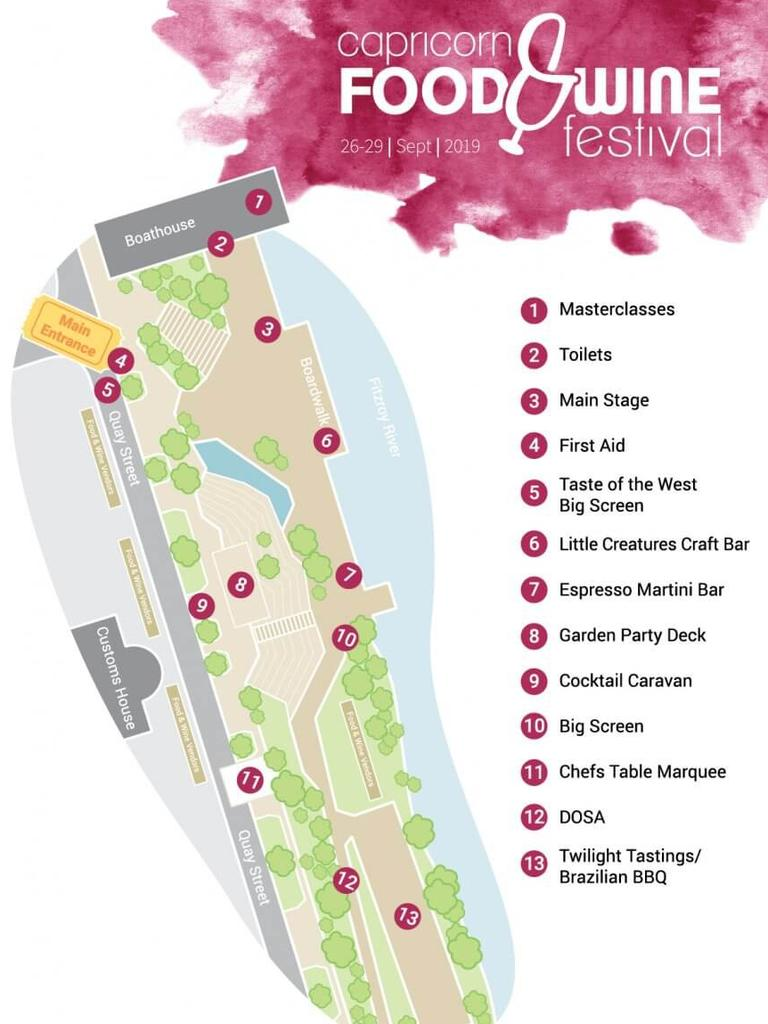 Map of the 2019 Capricorn Food and Wine Festival grounds.