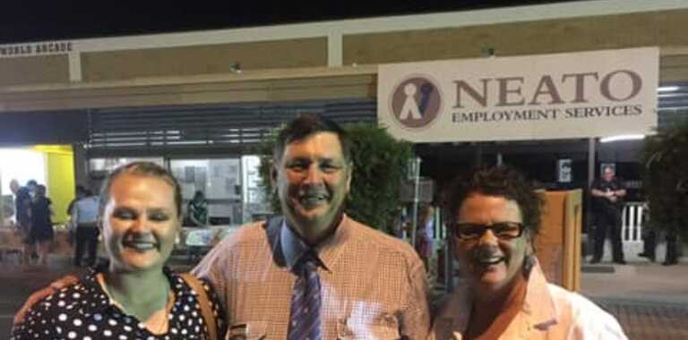 JACKPOT TIME: Jaimie Wilkie celebrates winning free return airfares to Brisbane with Banana Shire Council's Cr Nev Ferrier and Nicole Holmes.