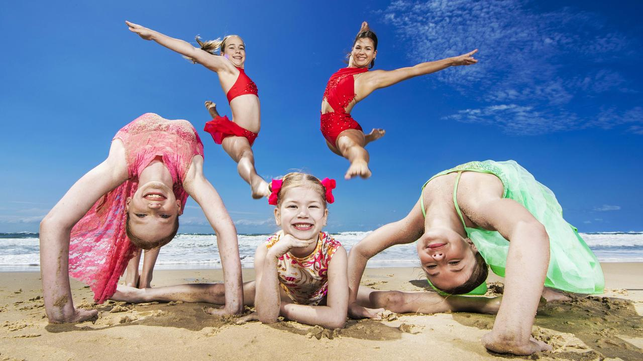 Gold Coast kids from the National Academy of Performing Arts Mardi Moore, 11, Dakota Janssen, 6, Lily Rose McKenzie 12, Courtney Sutherland,12 and Bella Janssen, 17, will dance at Get The Beat dance national finals to be held in Caloundra this week. Picture: Nigel Hallett