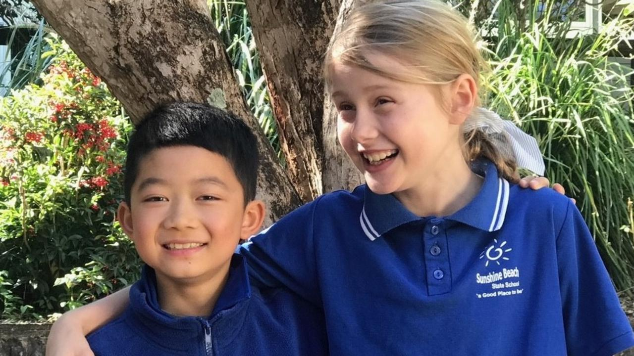 Sunshine Beach State School student Chloe and international student Jimmy. Picture: Contributed