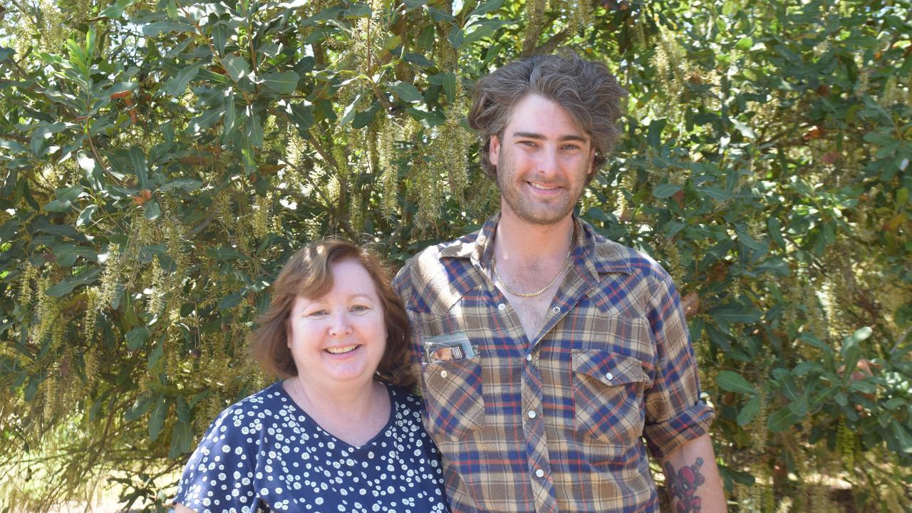 Wagoora cane growers Jill Fox and Matthew Fox at the Australian Macadamia Society tour of an Oakenden macadamia orchard. Photo: Zizi Averill