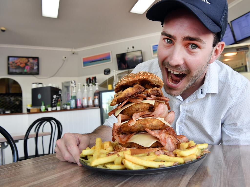 Wikid Fish n Chips, Mooloolaba, has launched a mega, massive burger challenge on the coast. Journalist Matty Holdsworth takes up the challenge. .