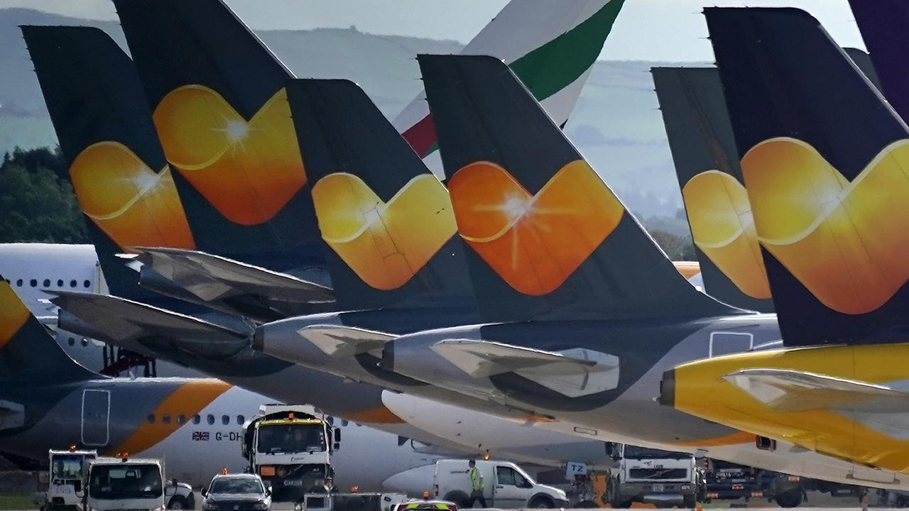 Thomas Cook aircraft are parked up at the UK's Manchester Airport on Monday. Picture: Christopher Furlong/Getty Images