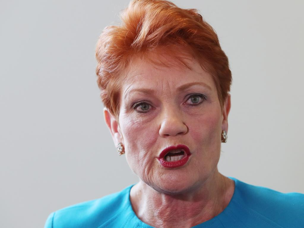 Senator Pauline Hanson at Parliament House in Canberra.