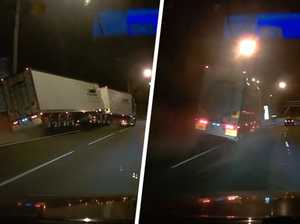 Dash cam captures hair-raising freeway near miss