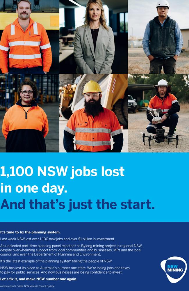 The mining industry will launch a mass advertising campaign condemning government minister rob stokes and the NSW planning system. Supplied