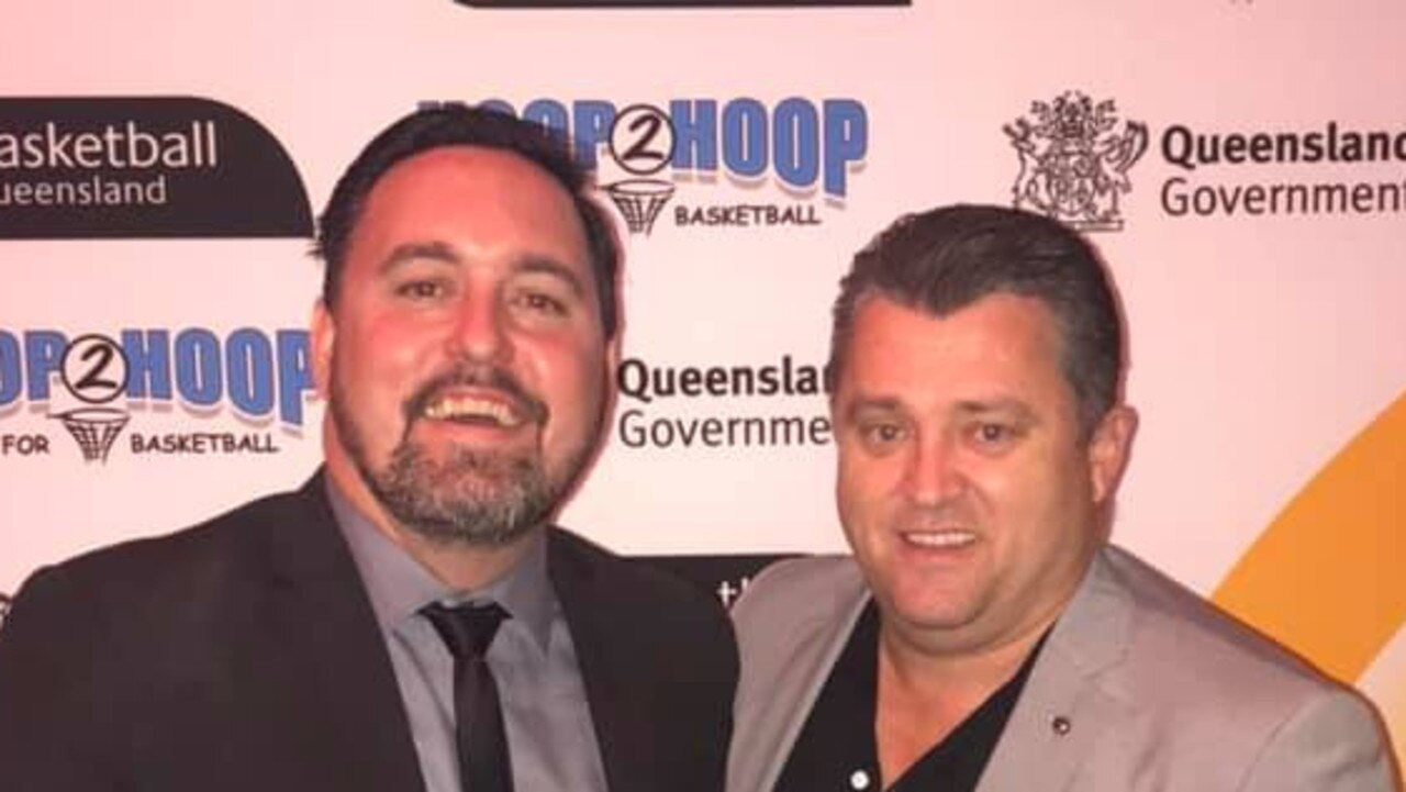 Jimmy Williams (right) pictured in his other role as president of Gold Coast Basketball. He is pictured here with Gold Coast Basketball manager Joel McInnes.