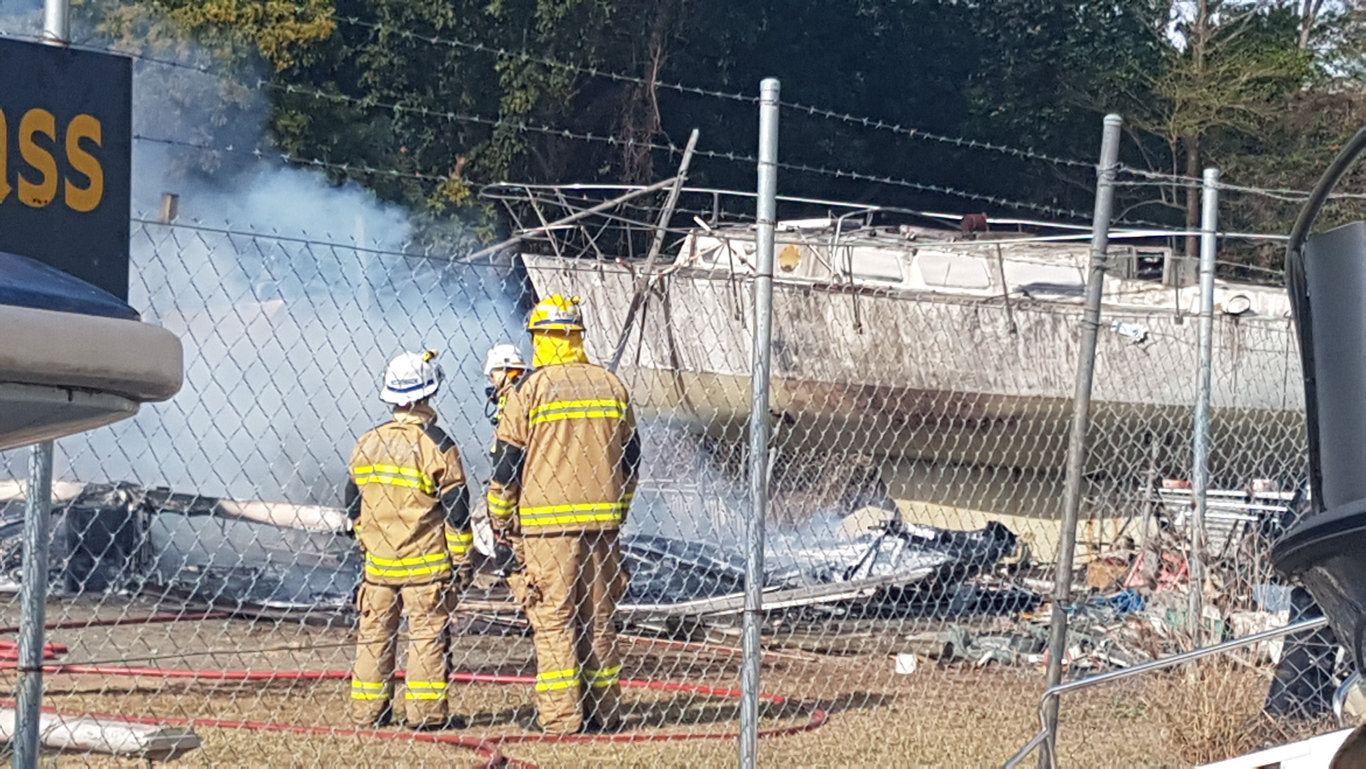 Firefighters put out a blaze that destroyed a boat in Jubilee Pocket.