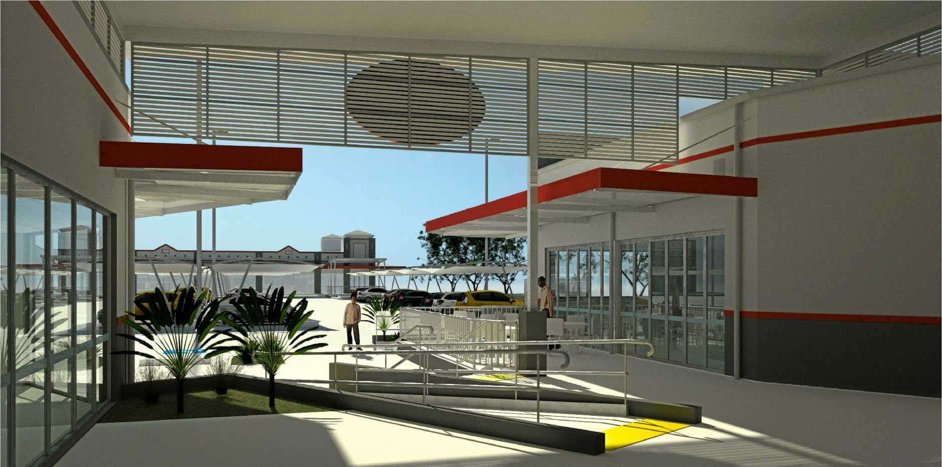 The fresh new modern look planned for the plaza of the new Kingaroy IGA complex.